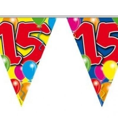 Foto van Vlaggenlijn balloons 15 jaar 10M