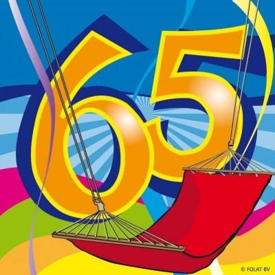 Foto van Servet 65 jaar Swirls 25x25/stk