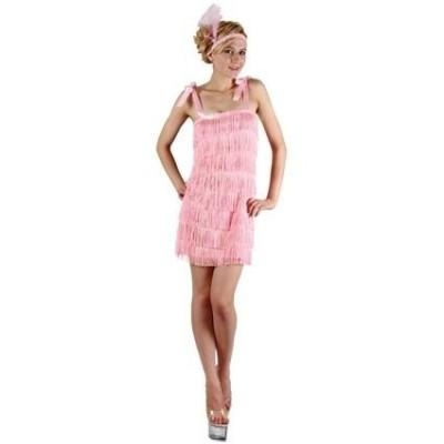 Foto van Jaren 20 jurkje roze met strikbandjes