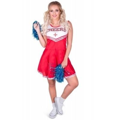 Foto van Cheerleader kostuum met pom pom's