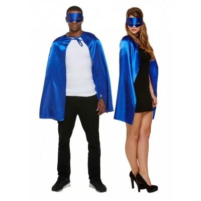 Foto van Superhelden cape met masker blauw