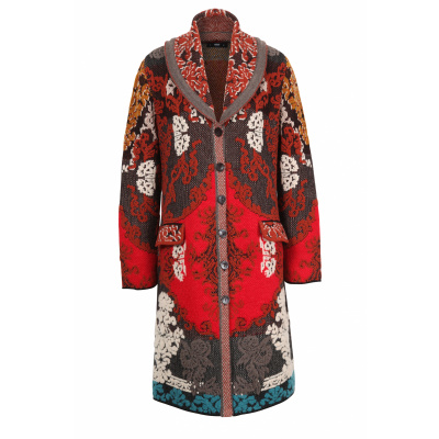 Foto van IVKO vest jas coat floral brown 202503