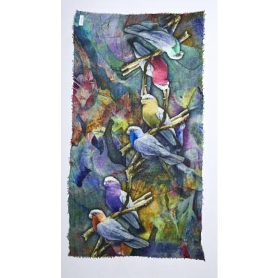 Foto van Otracosa Sjaal wol 100 x 180 cm vogels