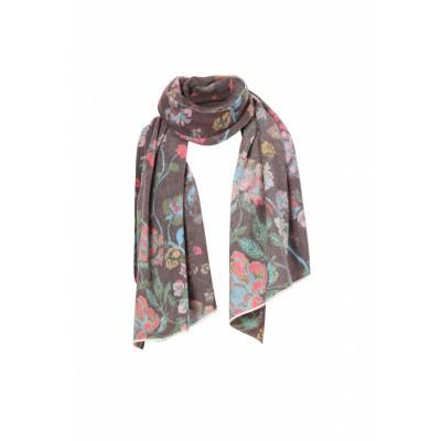 Foto van IVKO sjaal wol bloem grijs 82551