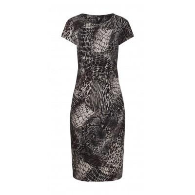 Foto van Smashed L jurk beige black viscose 19122