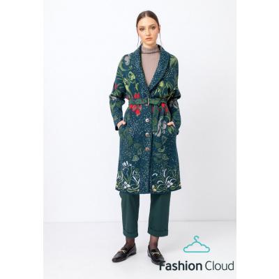 Foto van IVKO vest jas coat wol floral groen 212701