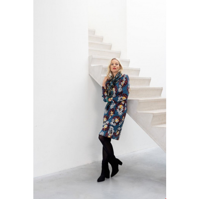 Foto van Zilch jurk eco cotton blauw oker