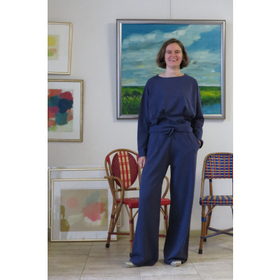 Foto van Enolah tricot broek wijd blauw Aubine