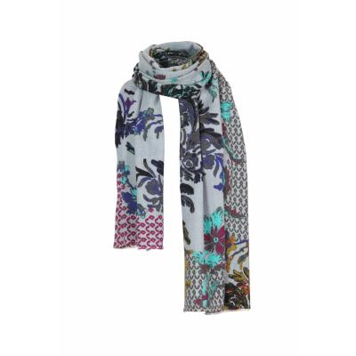 Foto van IVKO sjaal wol bloem grijs meerkleurig 202587