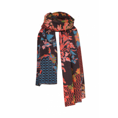 Foto van IVKO sjaal wol bloem bruin meerkleurig 202587