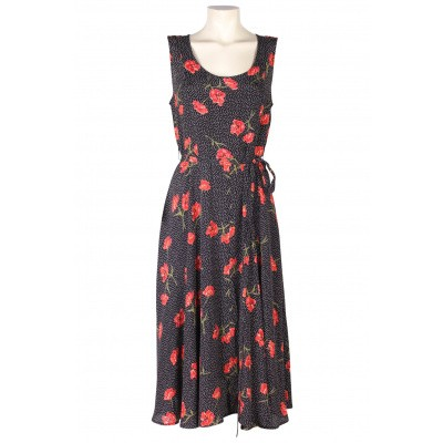 Foto van Intwo jurk viscose zwart bloem 1020