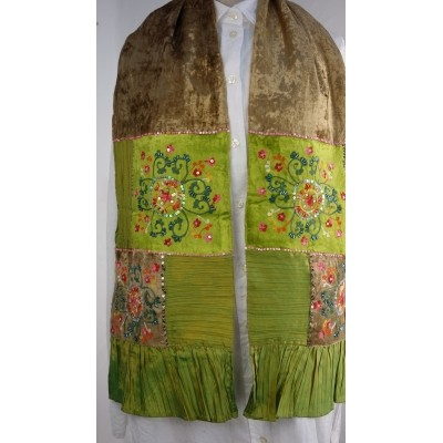 Foto van Romano sjaal patchwork 24x150cm lime groen
