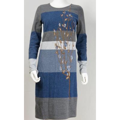 Foto van Cream jurk tricot cotton blauw grijs Lisa