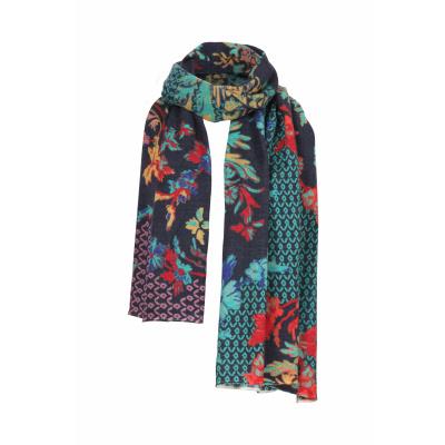 Foto van IVKO sjaal wol bloem marine meerkleurig 202587