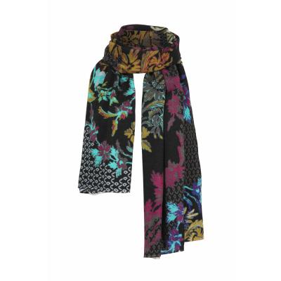 Foto van IVKO sjaal wol bloem zwart meerkleurig 202587