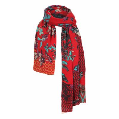 Foto van IVKO sjaal wol bloem rood meerkleurig 202587