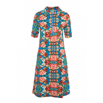 Foto van Lalamour jurk katoen blauw rits 2161