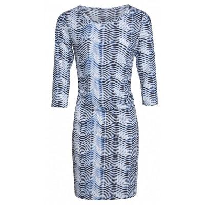 Foto van Smashed jurk viscose blauw 3/4 mouw 17079