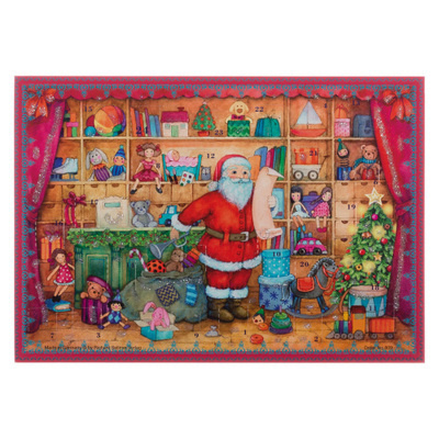 Foto van Advents kalender kerstman in winkel