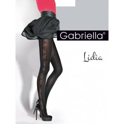 Foto van Panty gabriella zwart bloem motief aan de zijkant 40 deniers Lidia