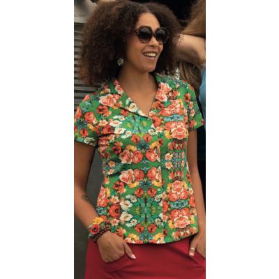 Foto van Lalamour blouse katoen groen blouse 2164