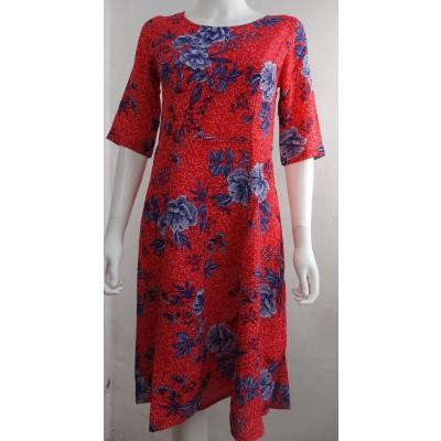 Foto van Intwo jurk crepe viscose rood bloem 1000