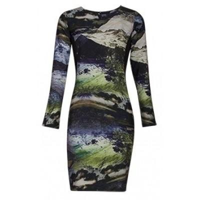 Foto van Smashed lemon jurk black groen viscose 170004