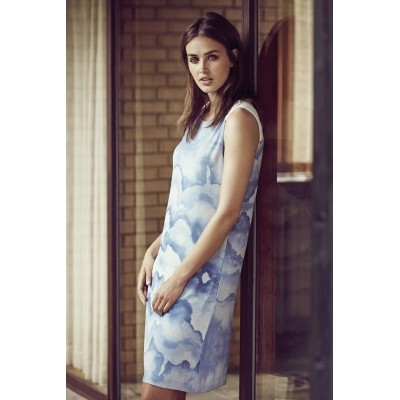 Foto van Kaffe jurk viscose blauw creme Germina