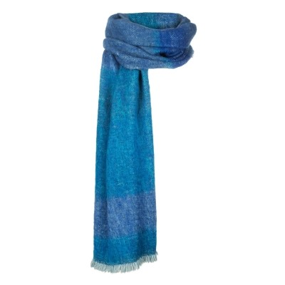 Foto van Inti hand blauwgeweven sjaal natural yarns