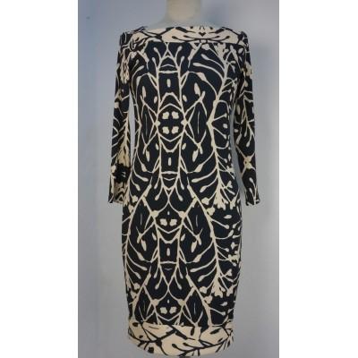 Foto van Eroke jurk creme zwart lange mouw ABM16