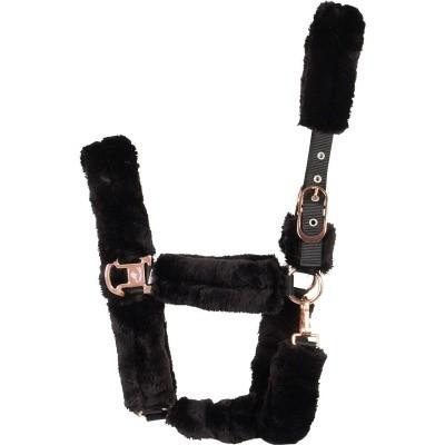 Foto van CATAGO schapenvacht halster zwart met rose gold sluitwerk