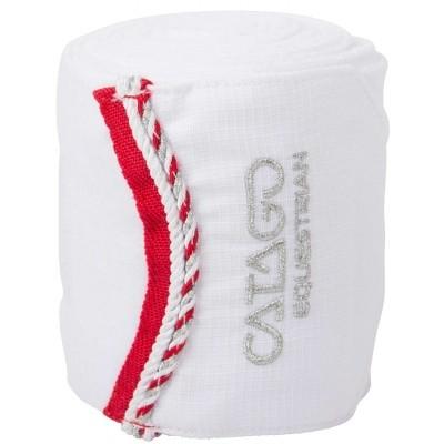 CATAGO Diamond fleece bandages wit/rood 4 st