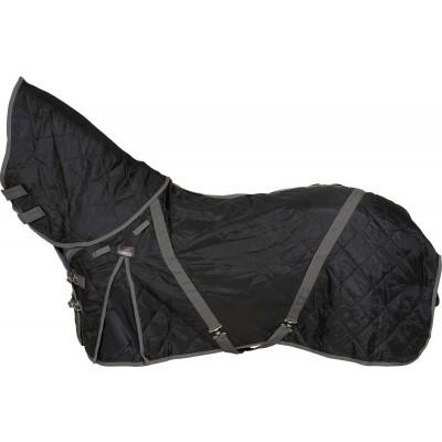 CATAGO staldeken met halsdeel 100gr zwart met grijs