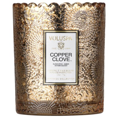 Foto van Voluspa Scalloped Edge Embossed Glass Candle Copper Clove