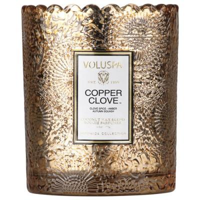 Voluspa Scalloped Edge Embossed Glass Candle Copper Clove
