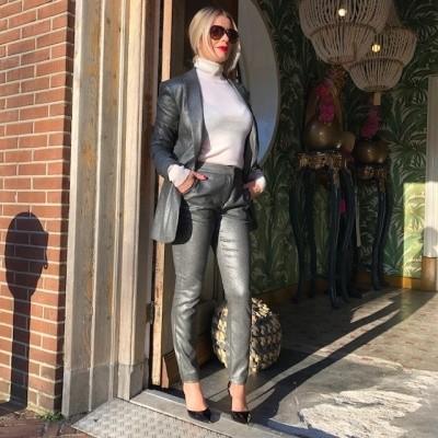 Foto van Alix the Label ladies woven foil stretch Pants silver