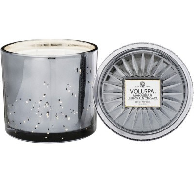 Foto van Voluspa Grande Maison 3 Wick Glass Candle Makassar Ebony and Peach