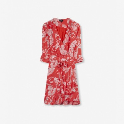 Alix the Label Ladies woven graphic animal dress Soft Coral