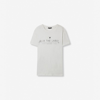 Alix the Label Ladies Knitted boxy t-shirt white