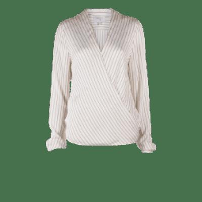 Dante6 Renoir striped wrap blouse milk white
