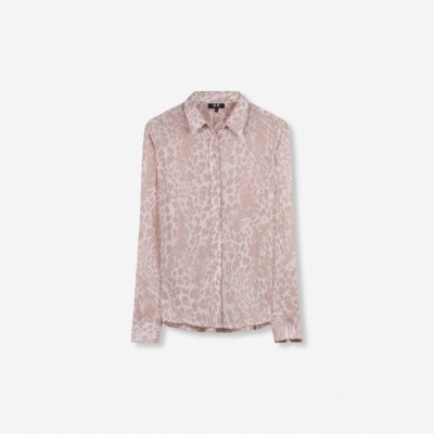 Foto van Alix the Label Ladies woven feather animal Blouse Pale Pink