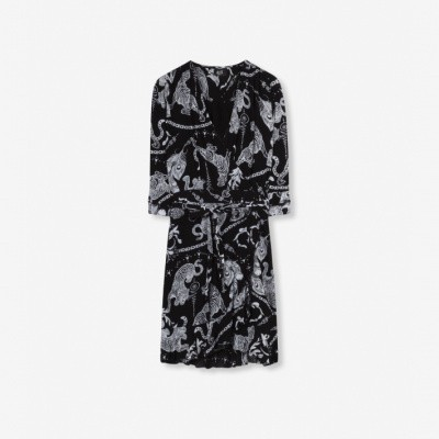 Alix the Label Ladies woven graphic animal dress Black