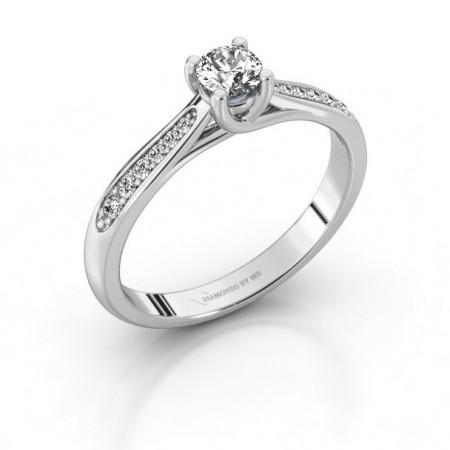 Ring met zijstenen (Solitaire Pave)