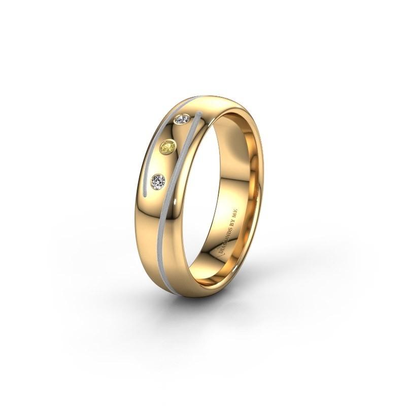 Trouwring WH0152L25A 585 goud gele saffier ±5x1.7 mm