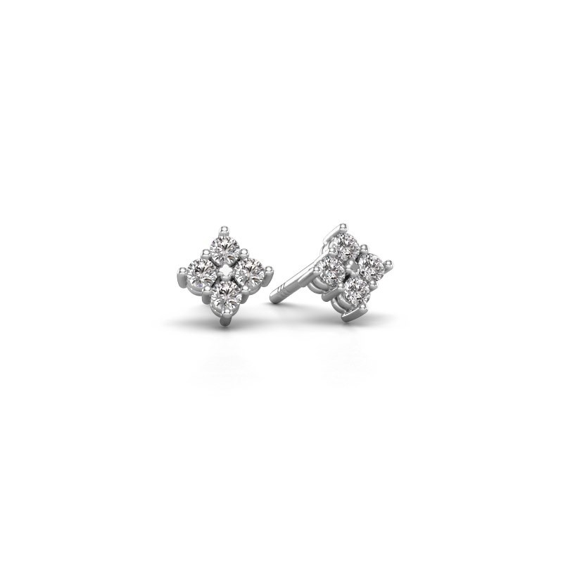 Oorstekers Maryetta 585 witgoud diamant 0.24 crt