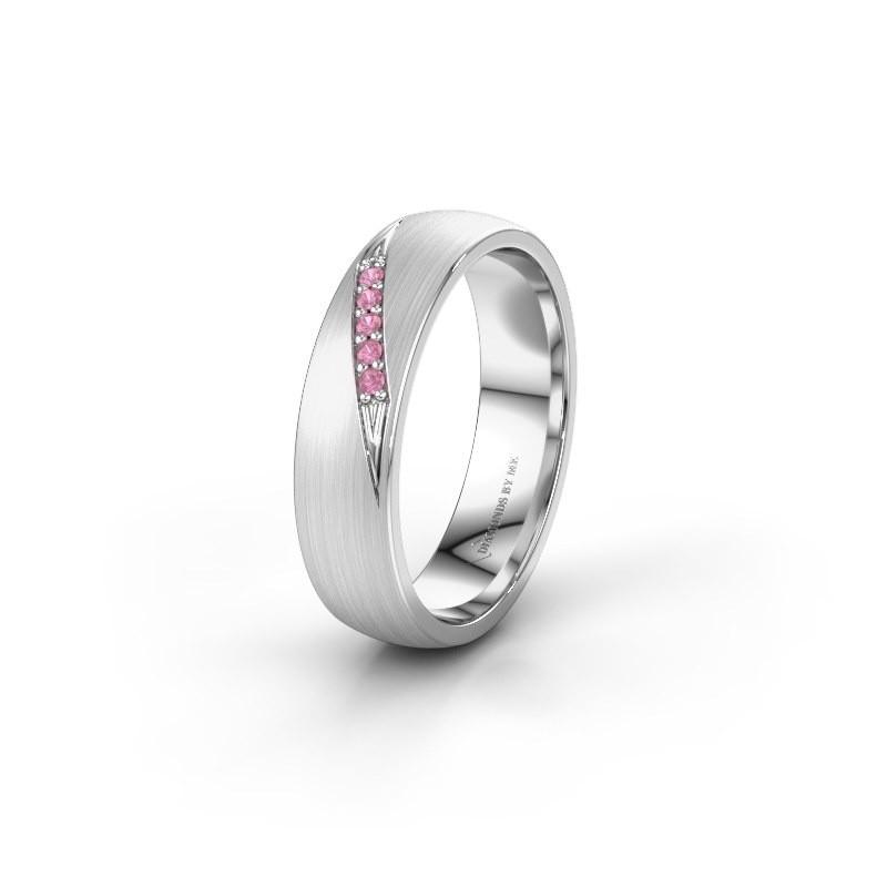Trouwring WH2150L25AM 585 witgoud roze saffier ±5x1.7 mm