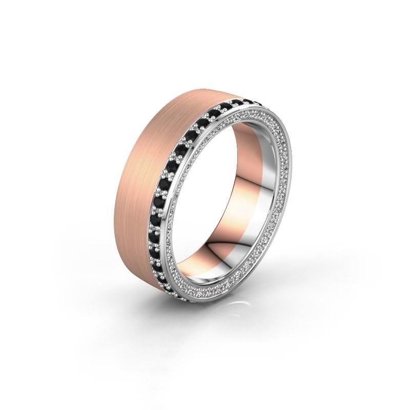 Trouwring WH2224L26C8 585 rosé goud zwarte diamant 0.612 crt ±6x2.2 mm