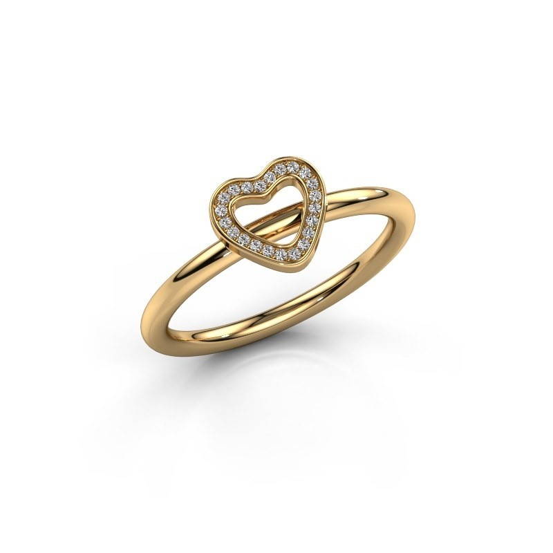 Ring Shape heart small 585 goud diamant 0.055 crt