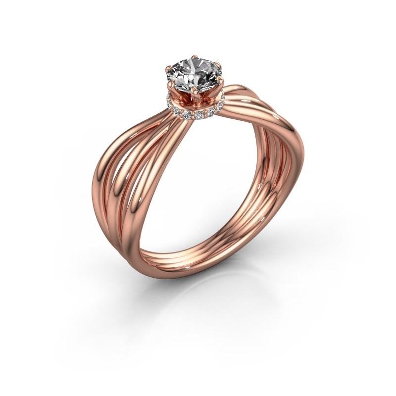 Verlovingsring Kimi 585 rosé goud zirkonia 5 mm