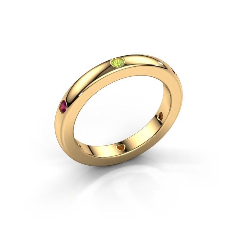 Aanschuifring Charla 585 goud peridoot 2 mm